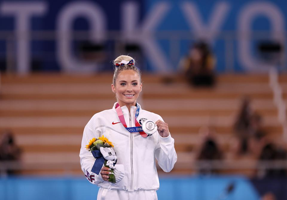 <p>TOKYO, JAPAN - AUGUST 01: Mykayla Skinner of Team United States poses with the silver medal during the Women's Vault Final medal ceremony on day nine of the Tokyo 2020 Olympic Games at Ariake Gymnastics Centre on August 01, 2021 in Tokyo, Japan. (Photo by Laurence Griffiths/Getty Images)</p>