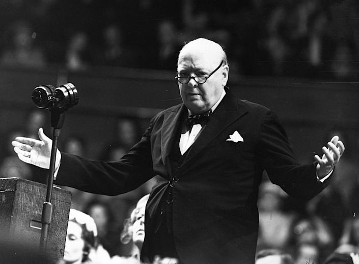 Winston Churchill (1874 - 1965) addressing a Women Conservatives meeting on 27th May 1954. | Keystone/Getty Images