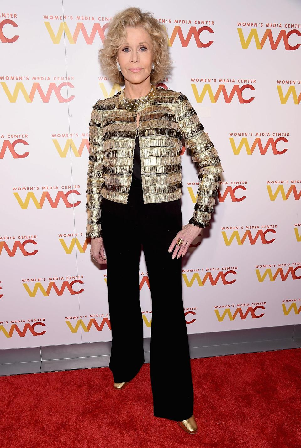 <p>The 80-year-old 'Grace and Frankie' star looked as chic as ever, in a gold, layered jacket. <em>[Photo: Getty]</em> </p>