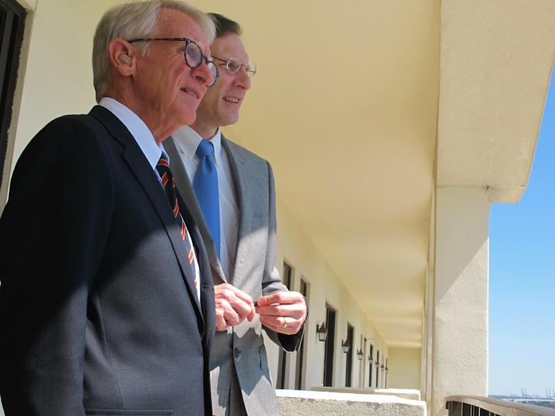 Charleston Mayor Joe Riley, left, and Medical University of South Carolina President Raymond Greenberg look out from a hotel penthouse on Monday, Sept. 10, 2012 over Horizon District in Charleston, S.C. Officials announced plans for a $1 billion, 20-year joint development project that could be the biggest in Charleston history. (AP Photo/Bruce Smith)