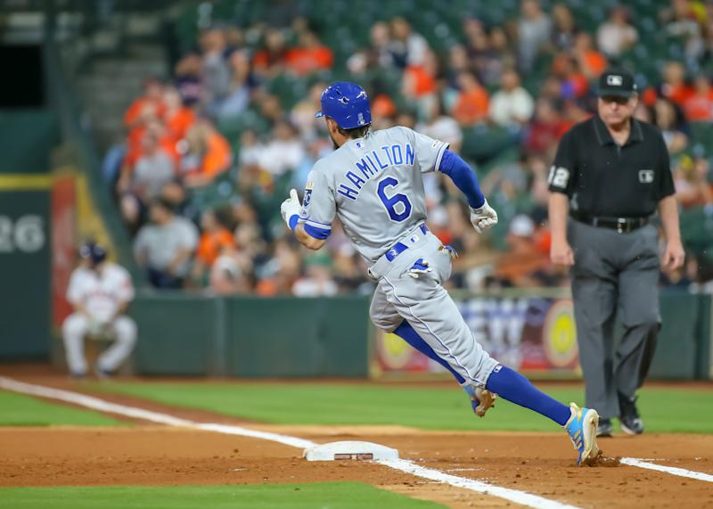 HOUSTON, TX - MAY 08: Kansas City Royals center fielder Billy Hamilton (6) rounds first base during the baseball game between the Kansas City Royals and Houston Astros on May 8, 2019 at Minute Maid Park in Houston, Texas. (Photo by Leslie Plaza Johnson/Icon Sportswire via Getty Images)