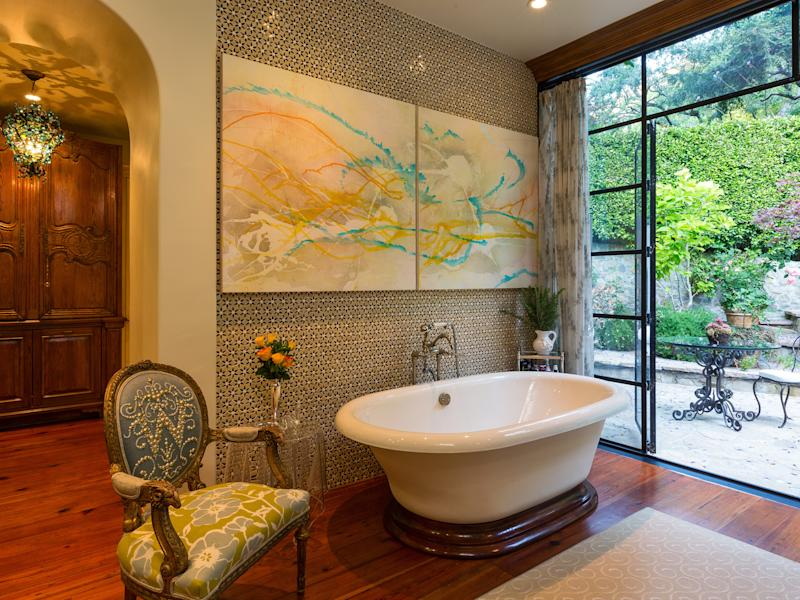 One of the many bathrooms in J.Lo's Bel Air home.