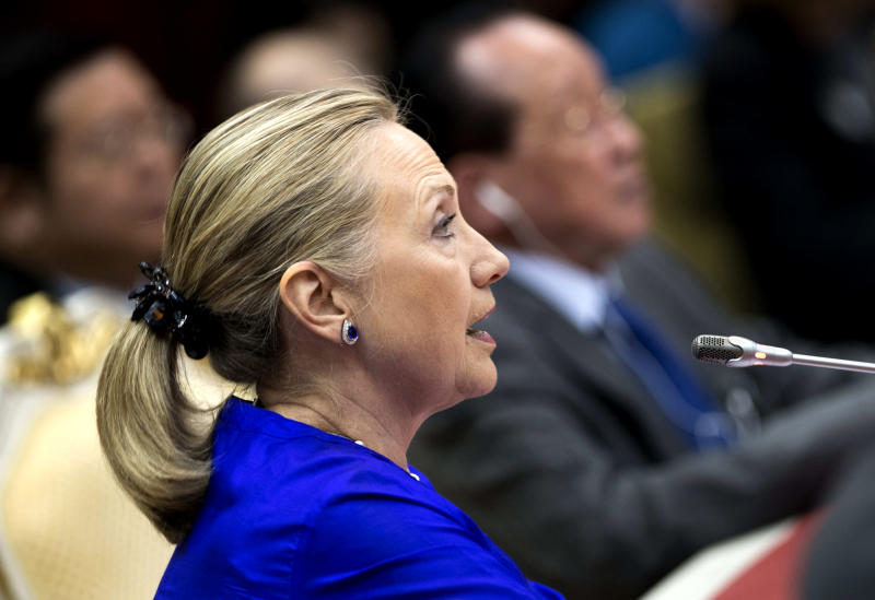 U.S. Secretary of State Hillary Rodham Clinton speaks during the second Friends of the Lower Mekong Ministerial meeting at Peace Palace Friday, July 13, 2012 in Phnom Penh, Cambodia. (AP Photo/Brendan Smialowski, Pool)