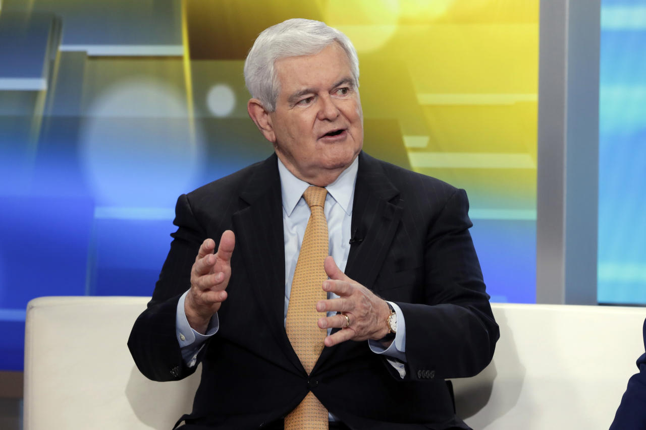 """FILE - In this May 24, 2018, file photo, former Speaker of the House Newt Gingrich is interviewed on the """"Fox & Friends"""" television program, in New York. he wife of Donald Trump confidant Roger Stone is using the email distribution list of former Republican House Speaker Newt Gingrich to request contributions for her husband's legal defense. (AP Photo/Richard Drew, File)"""