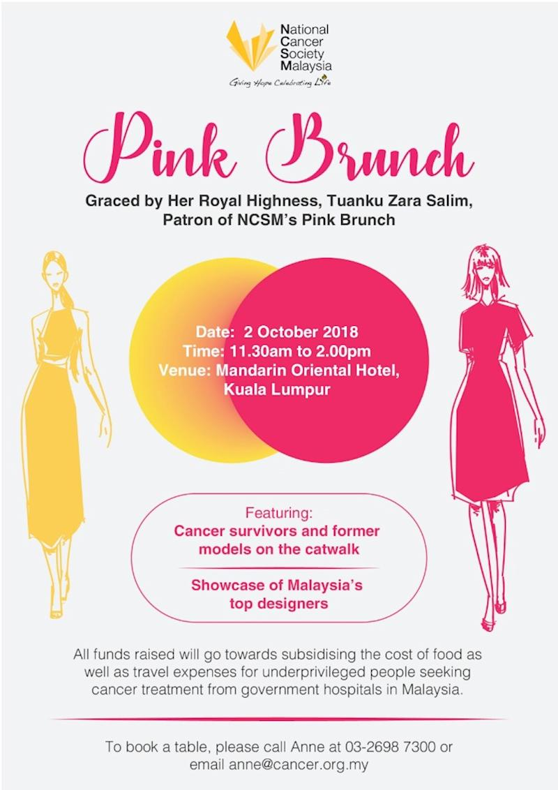The Pink Brunch will take place at Mandarin Oriental hotel on October 2.