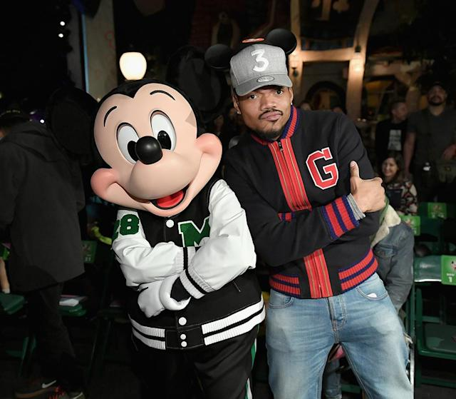 "<p>The hip-hop star got a chance to pose with his boy Mickey Mouse on Wednesday at the launch of ""Mickey the True Original"" campaign, a celebration of the famoue mouse's 90th birthday. The festivities at Disneyland in Anaheim, Calif. included a fashion show featuring a Mickey-inspired collection by Opening Ceremony. (Photo: Neilson Barnard/Getty Images for Disney) </p>"