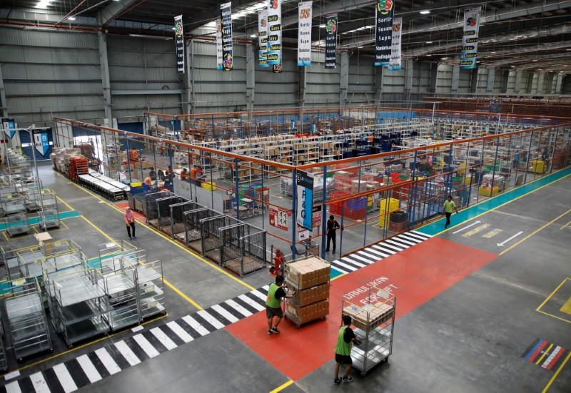 FILE PHOTO: A view of part of online retailer Lazada's warehouse in Depok