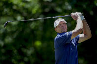 Steve Stricker tees off on the seventh hole during the final round of the Regions Tradition Champions Tour golf tournament Sunday, May 9, 2021, in Hoover, Ala. (AP Photo/Butch Dill)