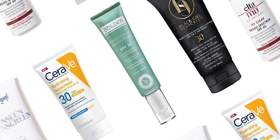"""<p class=""""body-dropcap"""">You've heard it before: You should be wearing SPF all day, every day. But the fact of the matter is that certain sunscreen formulas fail certain skin tones, causing a ghostly cast on deep skin. """"When formulated incorrectly, opaque ingredients like zinc oxide and titanium dioxide can cause a white cast,"""" says <a href=""""https://www.drmichellehenry.com/"""" rel=""""nofollow noopener"""" target=""""_blank"""" data-ylk=""""slk:Dr. Michelle Henry"""" class=""""link rapid-noclick-resp"""">Dr. Michelle Henry</a>, a board-certified dermatologist and clinical instructor of dermatology at Weill Medical College. Rather than go without, Henry recommends looking for formulas that include <a href=""""https://www.harpersbazaar.com/beauty/skin-care/a28557592/safe-sunscreen/"""" rel=""""nofollow noopener"""" target=""""_blank"""" data-ylk=""""slk:micronized zinc and titanium dioxide"""" class=""""link rapid-noclick-resp"""">micronized zinc and titanium dioxide</a>, """"or the addition of masking pigments."""" </p><p>Don't cut corners on your SPF. """"I recommend SPF 30 for daily use and SPF 50 whenever you are outside for more than an hour. Sunscreen should be reapplied every two hours,"""" says Henry. Below, the dermatologist's top sunscreen picks for melanin-rich skin, plus a few more SPF finds from fan-favorite, Black-owned brands. <br></p>"""