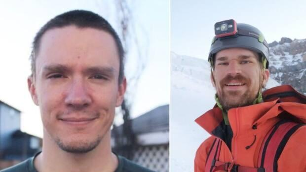 Andrew Abel (left) and Nathaniel Johnson (right) often climbed together. On Sunday, the friends were killed in an avalanche on Mount Andromeda. (Andrew Abel, Nate Johnson/Facebook - image credit)