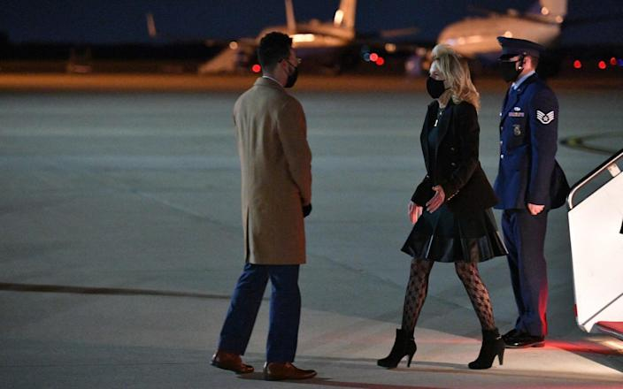 US First Lady Jill Biden deplanes upon arrival at Andrews Air Force Base in Maryland  - AFP