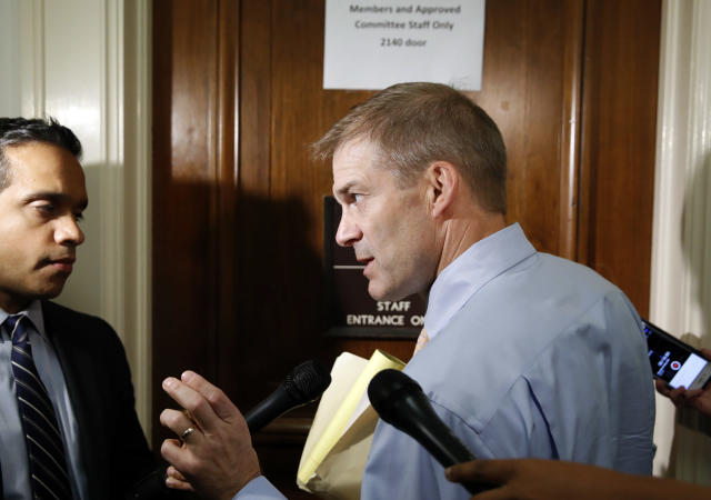Rep. Jim Jordan, R-Ohio, speaks with the media as he arrives for a deposition before the House Judiciary Committee. (AP)