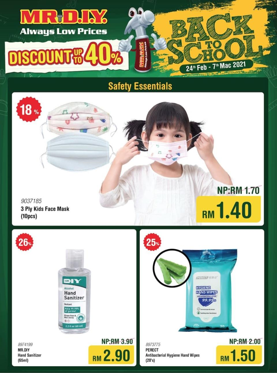 Stay protected in the classroom with face masks, hand sanitiser, and antibacterial wipes (flyer applicable for West Malaysia only). — Picture courtesy of MR.DIY
