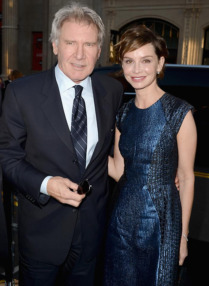 "HOLLYWOOD, CA - APRIL 09:  Actors Harrison Ford and Calista Flockhart attend the Los Angeles Premiere of Warner Bros. Pictures' and Legendary Pictures' ""42"" at TCL Chinese Theatre on April 9, 2013 in Hollywood, California.  (Photo by Kevin Winter/Getty Images)"