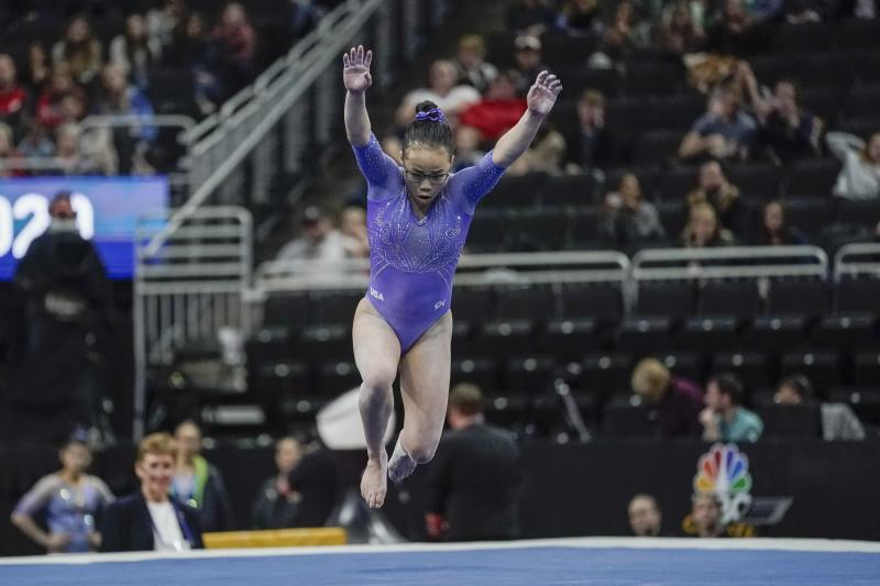 Morgan Hurd of the United States performs on the floor during the America Cup gymnastics competition Saturday, March 7, 2020, in Milwaukee. (AP Photo/Morry Gash)