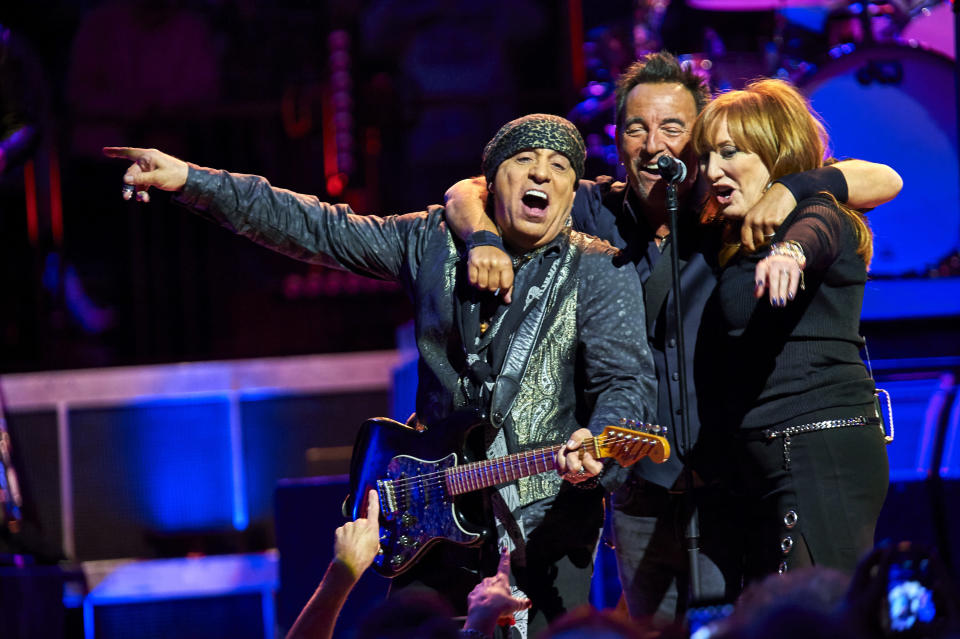 "FILE - Bruce Springsteen, center, Stevie Van Zandt, left, and Patti Scialfa perform with the E Street Band at Madison Square Garden in New York on Jan. 27, 2016. Springsteen's latest album, ""Letter To You"" will be released on Oct. 23. (Photo by Robert Altman /Invision/AP, File)"