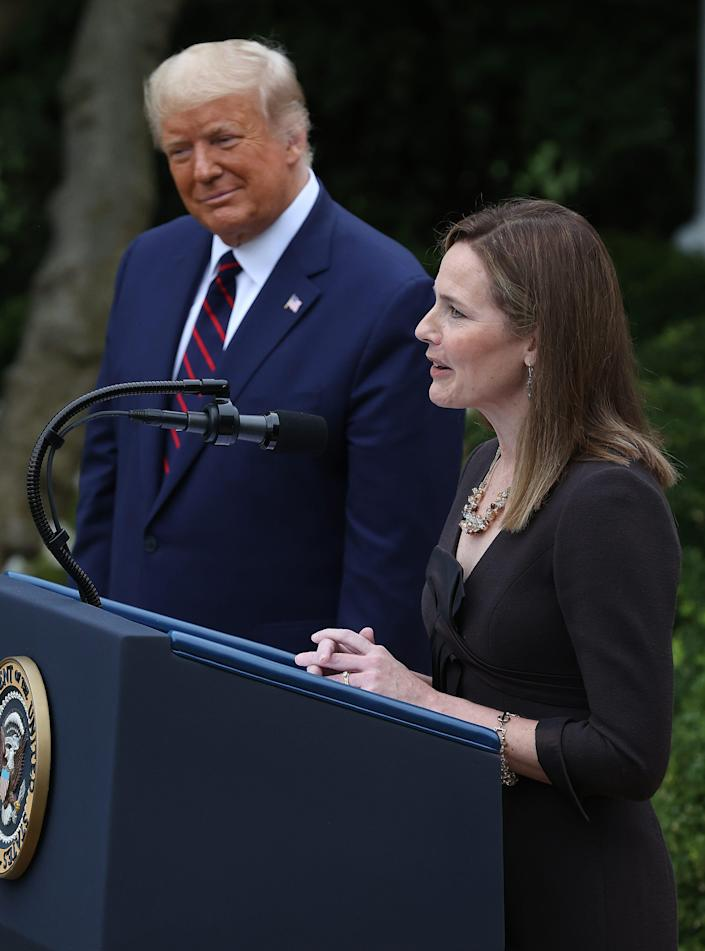 President Donald Trump nominates federal appeals court Judge Amy Coney Barrett of Indiana to the Supreme Court on Sept. 26, 2020.