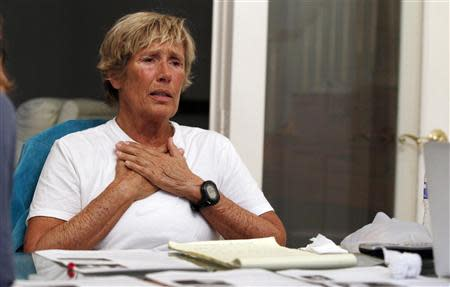 U.S. swimmer Nyad meets with endurance swimmers to answer skeptics about her record-breaking crossing of the Florida Straits, in Huntington Beach