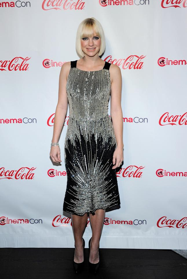 LAS VEGAS, NV - APRIL 26:  Actress Anna Faris, recipient of the Comedy Star of the Year Award, arrives at the CinemaCon awards ceremony at the Pure Nightclub at Caesars Palace during CinemaCon, the official convention of the National Association of Theatre Owners April 26, 2012 in Las Vegas, Nevada.  (Photo by Ethan Miller/Getty Images)