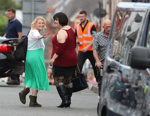 Joanna Page and Ruth Jones during filming for the Gavin and Stacey Christmas special in Barry (Credit: Getty Images)
