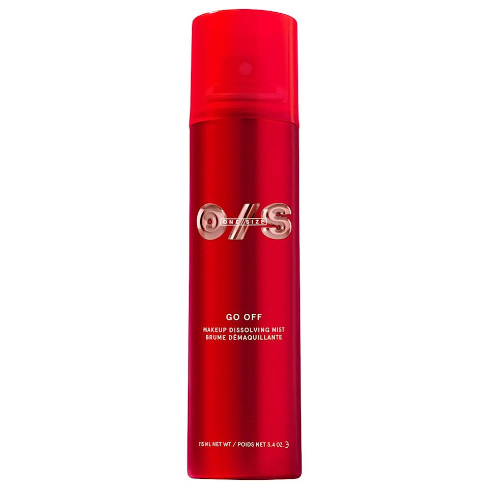 """<h3>ONE/SIZE GO OFF Makeup Dissolving Mist</h3> <br>""""Wipes, cleanser, micellar water, Q-tips: Makeup removal has always been so tedious for me, and I still find mascara clumps the next day. But that's all changed since I added this mist <a href=""""https://www.refinery29.com/en-us/2020/07/9918701/patrick-starrr-one-size-brand-launch-interview"""" rel=""""nofollow noopener"""" target=""""_blank"""" data-ylk=""""slk:by Patrick Starrr"""" class=""""link rapid-noclick-resp"""">by Patrick Starrr</a> to my cleansing routine. After spraying it all over my face and watching everything melt off, I'm able to easily wipe away makeup with less tugging, which means less irritation for my sensitive, redness-prone skin."""" — Diaz<br><br><strong>ONE/SIZE by Patrick Starrr</strong> GO OFF Makeup Dissolving Mist, $, available at <a href=""""https://go.skimresources.com/?id=30283X879131&url=https%3A%2F%2Fwww.sephora.com%2Fproduct%2Fone-size-go-off-makeup-dissolving-mist-P91627362%3Ficid2%3Dshop%2520the%2520go%2520off%2520collection%3Ap91627362%3Aproduct"""" rel=""""nofollow noopener"""" target=""""_blank"""" data-ylk=""""slk:Sephora"""" class=""""link rapid-noclick-resp"""">Sephora</a><br>"""