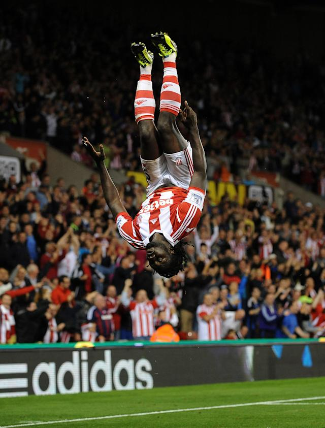 Stoke City's Kenwyne Jones celebrates scoring his hat trick during the Capital One Cup, Second Round match at the Britannia Stadium, Stoke.