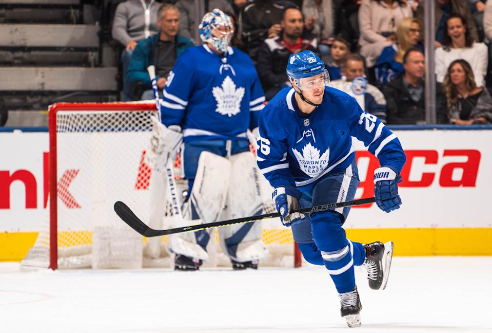 TORONTO, ON - OCTOBER 25: Nick Shore #26 of the Toronto Maple Leafs skates against the San Jose Sharks during the first period at the Scotiabank Arena on October 25, 2019 in Toronto, Ontario, Canada. (Photo by Mark Blinch/NHLI via Getty Images)