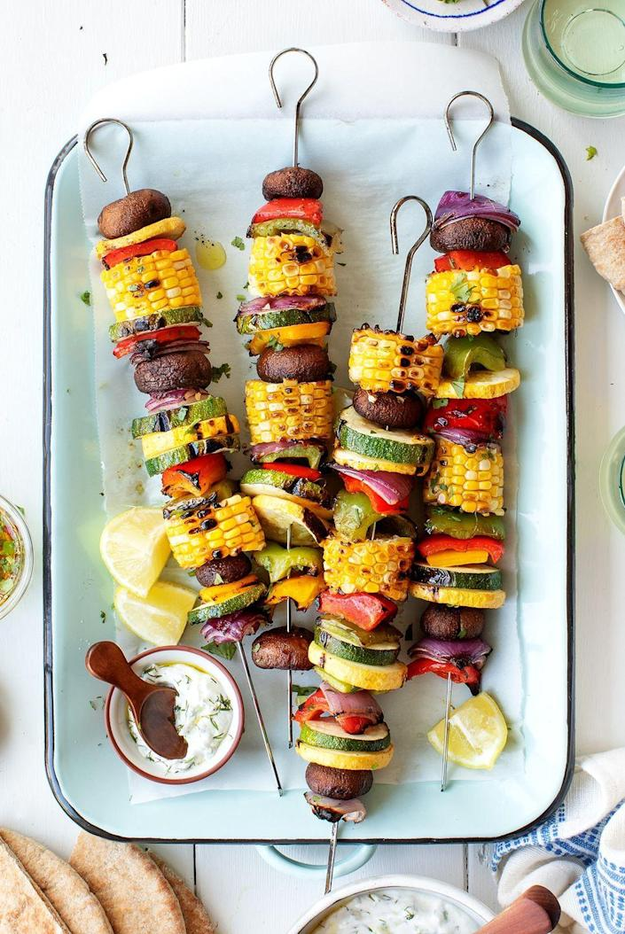 """<p>These lightly charred, bite-sized veggies are easy to put together and fun to eat. Drizzle them with tzatziki, pesto, or ranch for extra flavor. </p><p><strong>Get the recipe at <a href=""""https://www.loveandlemons.com/grilled-vegetables/"""" rel=""""nofollow noopener"""" target=""""_blank"""" data-ylk=""""slk:Love and Lemons"""" class=""""link rapid-noclick-resp"""">Love and Lemons</a>. </strong></p><p><a class=""""link rapid-noclick-resp"""" href=""""https://go.redirectingat.com?id=74968X1596630&url=https%3A%2F%2Fwww.walmart.com%2Fsearch%2F%3Fquery%3Dskewers&sref=https%3A%2F%2Fwww.thepioneerwoman.com%2Ffood-cooking%2Fmeals-menus%2Fg36353420%2Ffourth-of-july-side-dishes%2F"""" rel=""""nofollow noopener"""" target=""""_blank"""" data-ylk=""""slk:SHOP SKEWERS"""">SHOP SKEWERS</a></p>"""