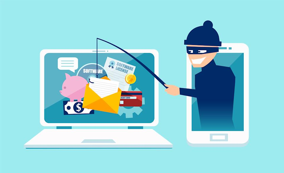 Login into account in email envelope and fishing for private financial account information. Vector concept of phishing scam, hacker attack and web security