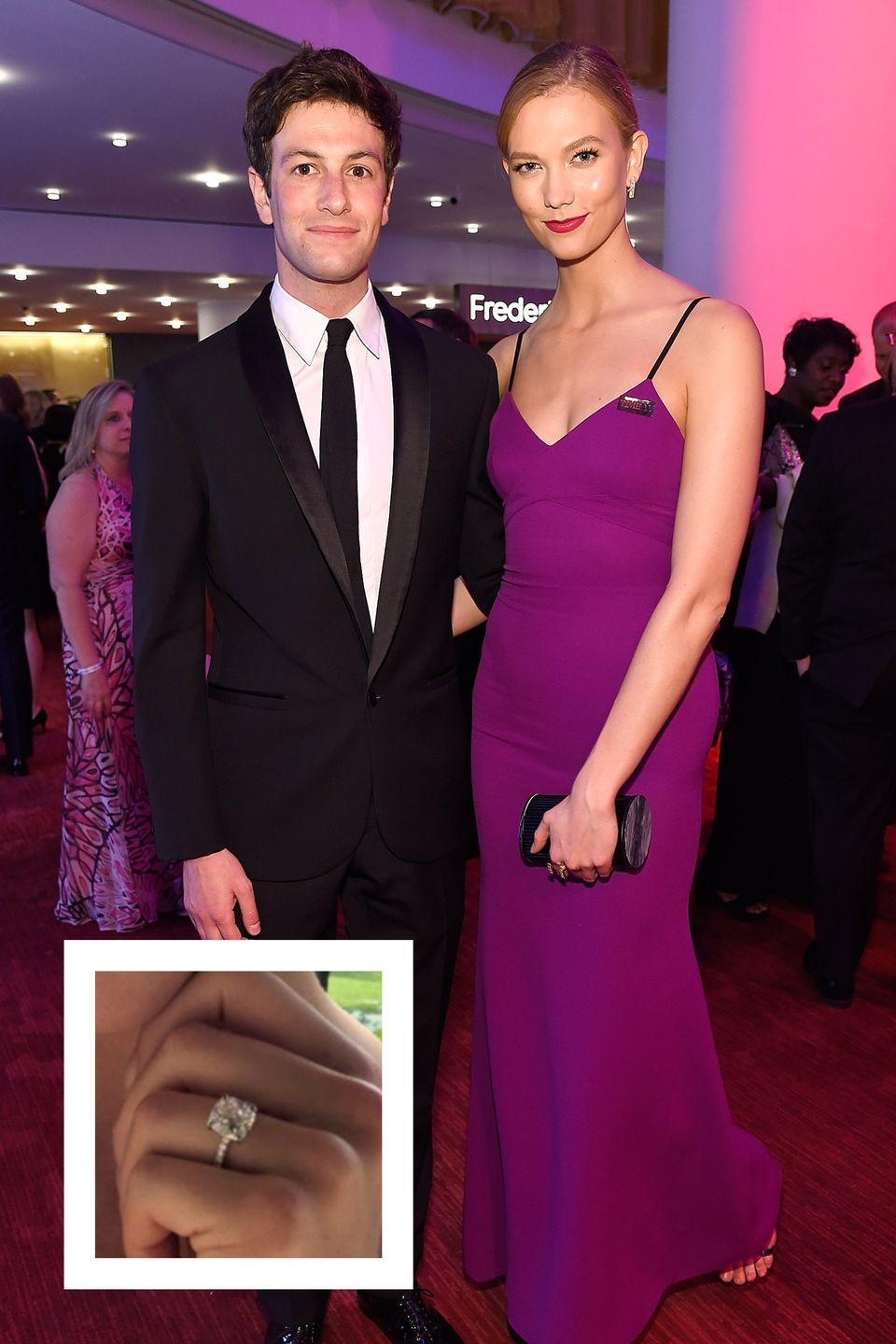 """<p>Karlie Kloss and <a href=""""https://www.townandcountrymag.com/society/politics/news/a8821/joshua-kushner-jared-kushner-brother/"""" rel=""""nofollow noopener"""" target=""""_blank"""" data-ylk=""""slk:longtime boyfriend Josh Kushner"""" class=""""link rapid-noclick-resp"""">longtime boyfriend Josh Kushner</a> announced their engagement in July 2018. Kushner proposed with <a href=""""https://www.townandcountrymag.com/society/tradition/a22534506/karlie-kloss-engagement-ring-joshua-kushner/"""" rel=""""nofollow noopener"""" target=""""_blank"""" data-ylk=""""slk:a gorgeous diamond ring,"""" class=""""link rapid-noclick-resp"""">a gorgeous diamond ring,</a> with a cushion cut center stone that weighs between seven and eight carats set on a delicate diamond-adorned band. The ring is estimated to cost between $200,000 and $500,000, depending on the quality of the center stone. Kloss and Kushner <a href=""""https://www.townandcountrymag.com/the-scene/weddings/a22534526/karlie-kloss-joshua-kushner-wedding/"""" rel=""""nofollow noopener"""" target=""""_blank"""" data-ylk=""""slk:married in a private ceremony"""" class=""""link rapid-noclick-resp"""">married in a private ceremony</a> held in October 2018.</p>"""