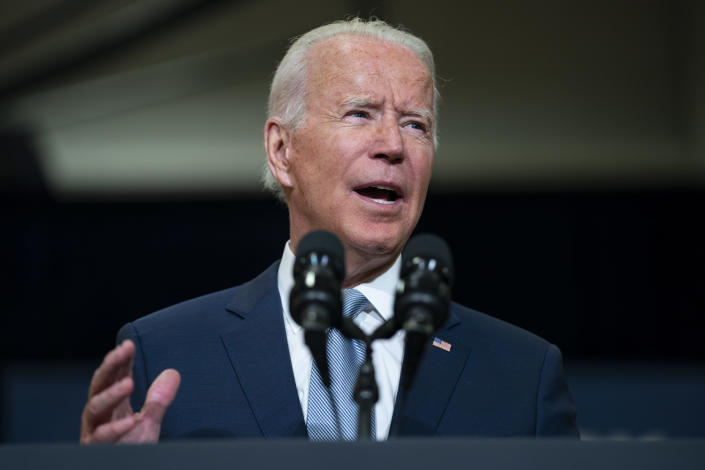 President Joe Biden delivers remarks on infrastructure spending at McHenry County College, Wednesday, July 7, 2021, in Crystal Lake, Ill. (AP Photo/Evan Vucci)