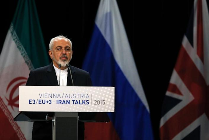 Iranian Foreign Minister Mohammad Javad Zarif speaks during a press conference in Vienna, on July 14, 2015 (AFP Photo/Carlos Barria)