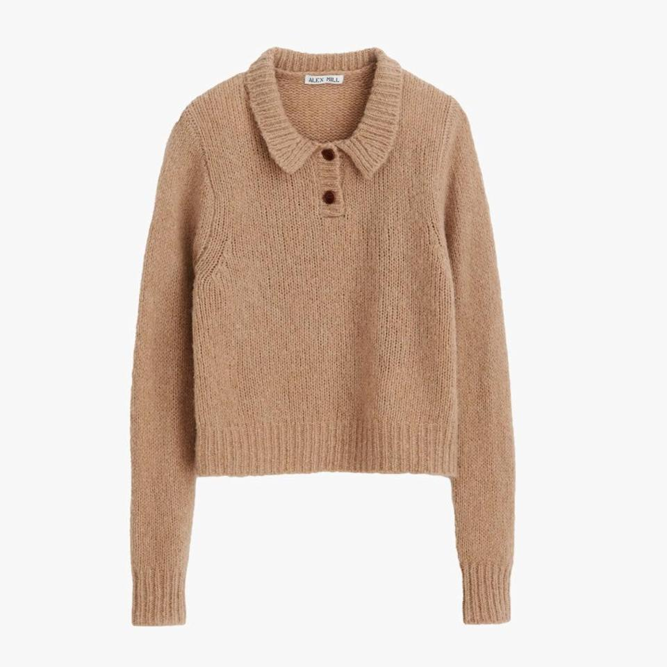 """$165, NORDSTROM. <a href=""""https://www.nordstrom.com/s/alex-mill-wool-cashmere-blend-henley-sweater/5732552?origin=category-personalizedsort&breadcrumb=Home%2FWomen%2FClothing%2FSweaters&color=warm%20khaki"""" rel=""""nofollow noopener"""" target=""""_blank"""" data-ylk=""""slk:Get it now!"""" class=""""link rapid-noclick-resp"""">Get it now!</a>"""