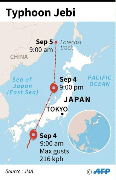Graphic showing the path of typhoon Jebi