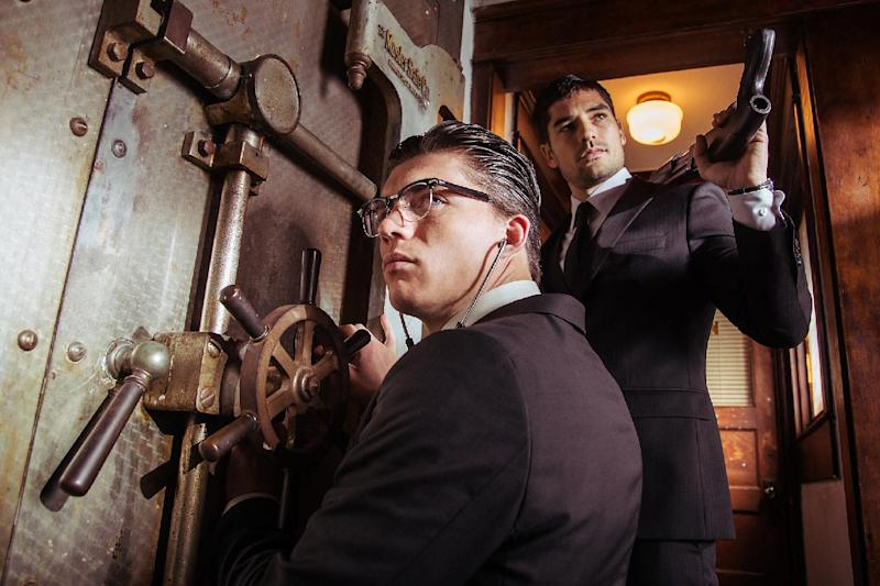 "This image released by the El Rey Network shows Zane Holtz as Richie Gecko, left, and D.J. Cotrona as Seth Gecko in a scene from ""From Dusk Till Dawn: The Series,"" premiering Tuesday, March 11, 2014, at 9 p.m. EDT. (AP Photo/El Rey Network)"