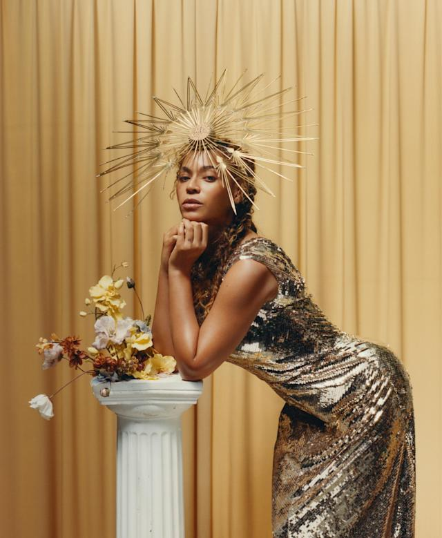 Beyoncé in yet another headpiece. (Photo: Tyler Mitchell/Vogue)
