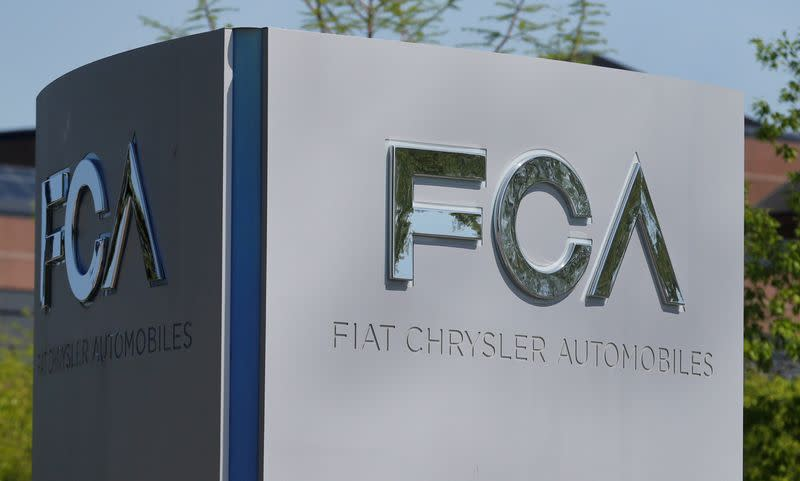 FILE PHOTO: A Fiat Chrysler Automobiles sign at the U.S. headquarters in Auburn Hills, Michigan