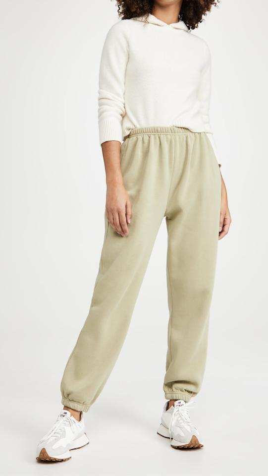"""<p>These <product href=""""https://www.shopbop.com/academy-sweatpants-lioness/vp/v=1/1523521751.htm?colorId=1A3D7"""" target=""""_blank"""" class=""""ga-track"""" data-ga-category=""""internal click"""" data-ga-label=""""https://www.shopbop.com/academy-sweatpants-lioness/vp/v=1/1523521751.htm?colorId=1A3D7"""" data-ga-action=""""body text link"""">Lioness Academy Sweatpants</product> ($69, plus use code FALL20) are perfect for weekends.</p>"""