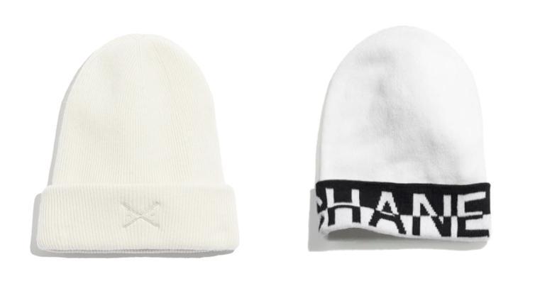 Barrie and Chanel white beanie hats