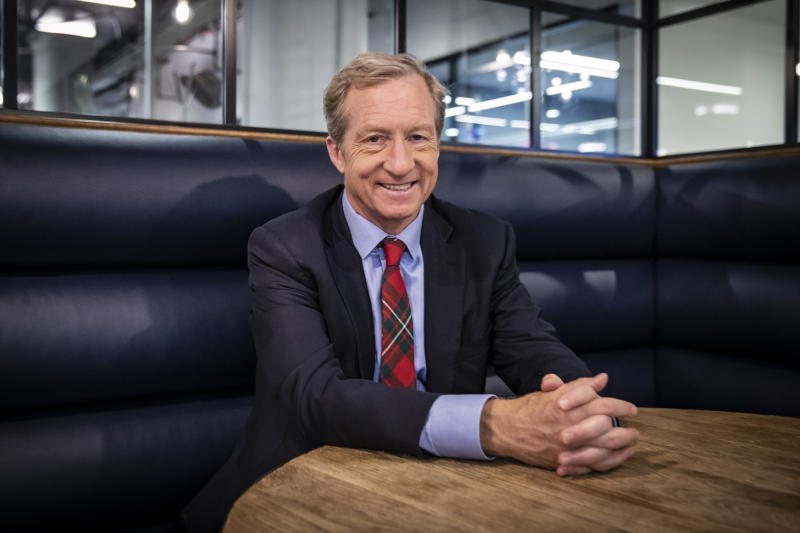 2020 Democratic presidential candidate Tom Steyer at the Yahoo offices in New York City on Sept. 26, 2019. (Photo: Gordon Donovan/Yahoo News)