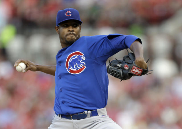 Chicago Cubs starting pitcher Edwin Jackson throws during the first inning of a baseball game against the St. Louis Cardinals, Wednesday, June 19, 2013, in St. Louis. (AP Photo/Jeff Roberson)
