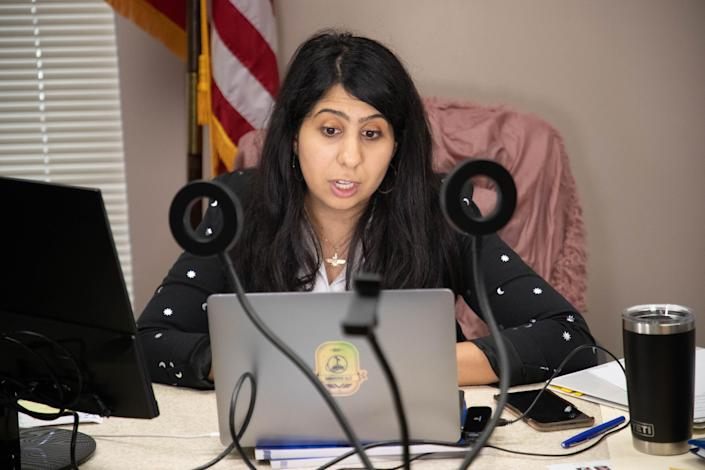 Rep. Anna Eskamani participates in a Facebook Live and Zoom event with Executive Director of the Victim Service Center Lui Damiani to raise awareness for Sexual Assault Awareness Month in her office at the Capitol Wednesday, April 7, 2021.