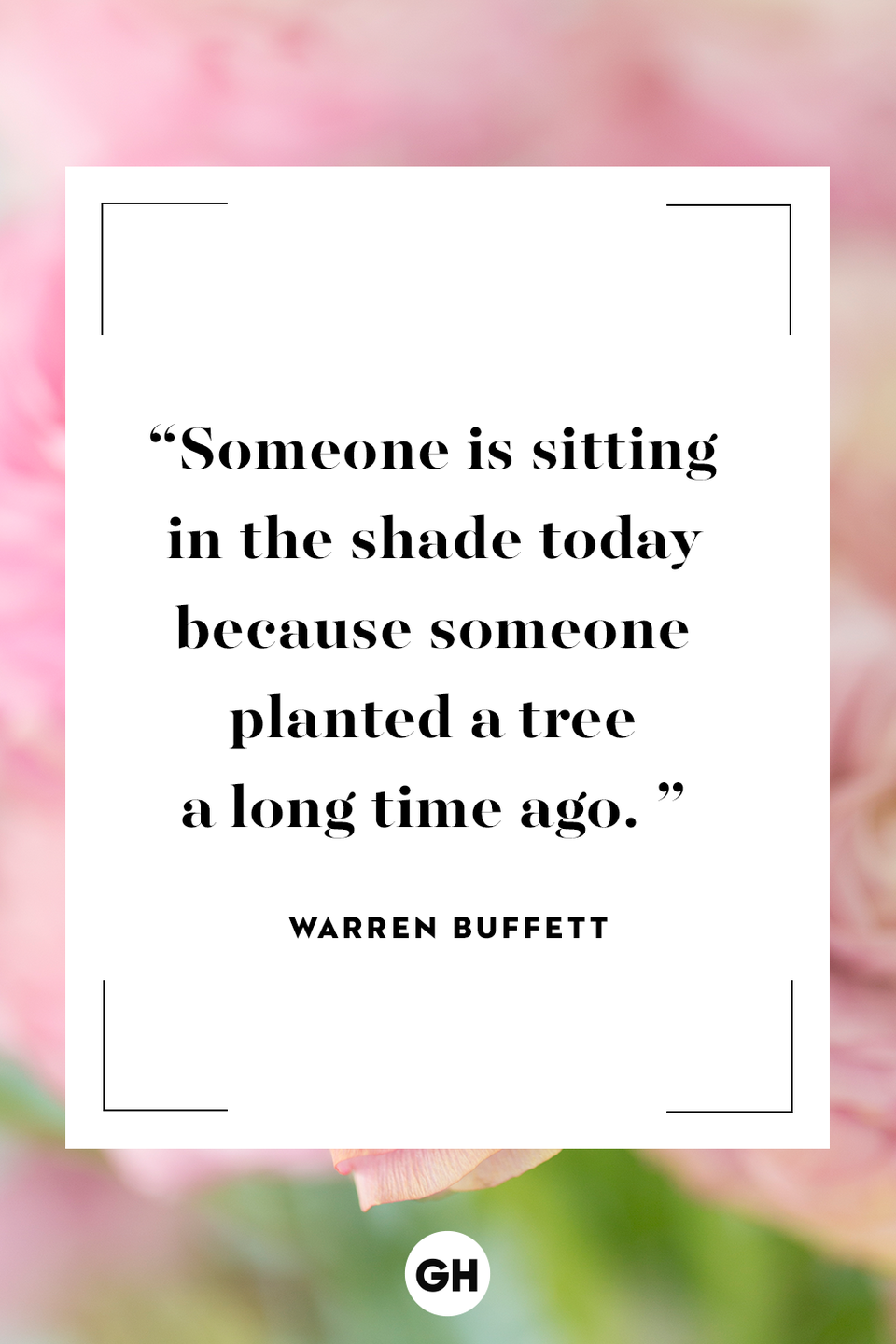 <p>Someone is sitting in the shade today because someone planted a tree a long time ago.</p>