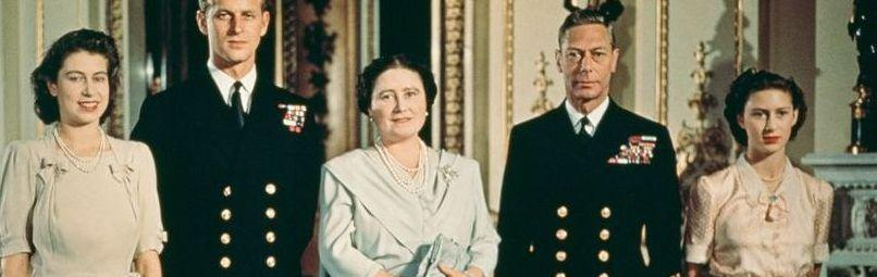 """<p>A young Queen Elizabeth II, Philip Mountbatten, Queen Elizabeth the Queen Mother, King George VI, and Princess Margaret pose in July 1947 in the royal apartments to celebrate Elizabeth and Philip's engagement. Philip reportedly proposed with a <a href=""""http://www.townandcountrymag.com/leisure/arts-and-culture/news/a8451/queen-elizabeth-prince-philip-wedding/"""" rel=""""nofollow noopener"""" target=""""_blank"""" data-ylk=""""slk:three-carat diamond ring"""" class=""""link rapid-noclick-resp"""">three-carat diamond ring</a> that consisted of a center stone flanked by 10 smaller diamonds. </p>"""