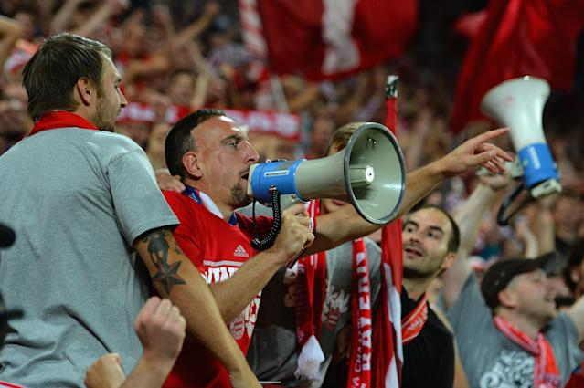 PRAGUE, CZECH REPUBLIC - AUGUST 30: Franck Ribery of Bayern Munich celebrates victory with the Bayern Munich fans during the UEFA Super Cup between Bayern Muenchen and Chelsea at Stadion Eden on August 30, 2013 in Prague, Czech Republic. (Photo by Shaun Botterill/Getty Images)