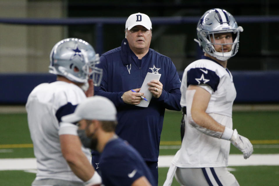 Dallas Cowboys head coach Mike McCarthy watches practice during an NFL football training camp in Arlington, Texas, Sunday, Aug. 30, 2020. (AP Photo/Michael Ainsworth)