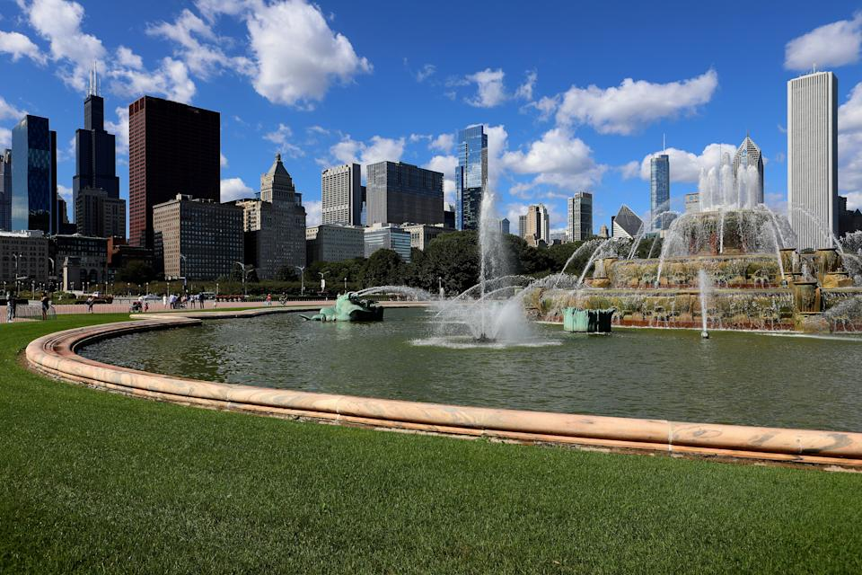 CHICAGO -  SEPTEMBER 23:  Clarence F. Buckingham Memorial Fountain and downtown Chicago office buildings and residences in the background in Chicago, Illinois on September 23, 2019.  (Photo By Raymond Boyd/Getty Images)