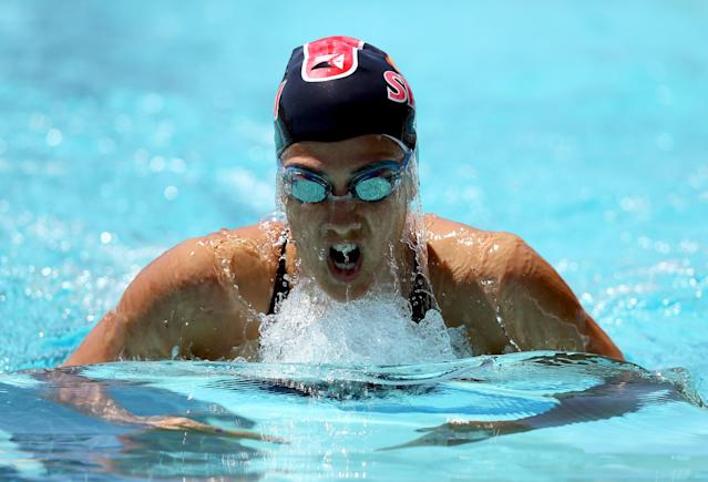 SANTA CLARA, CA - JUNE 03: Stephanie Rice of Australia swims the breaststroke during the women's 200 meter IM during day 4 of the Santa Clara International Grand Prix at George F. Haines International Swim Center on June 3, 2012 in Santa Clara, California. (Photo by Ezra Shaw/Getty Images)
