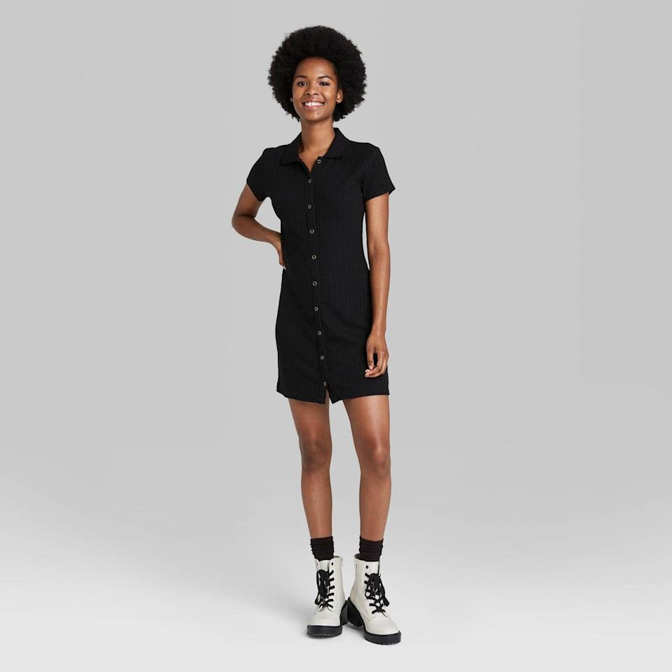 <p>From the sporty polo collar to the modern length, everything about this <span>Wild Fable Short Sleeve Bodycon Polo Dress</span> ($25) is effortlessly stylish. Pair it with chunky boots for a fall-ready look.</p>