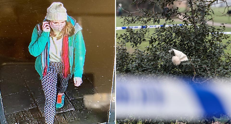 a beanie similar to Sarah Everard's was seen behind police tape in a bush.